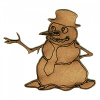 Snowman in Hat - MDF Wood Shape