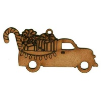 Vintage Truck with Gifts & Lights - MDF Wood Shape