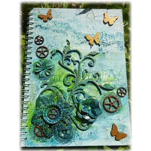 Flourishing Butterflies altered notebook by Alison - www.calicocraftparts.co.uk