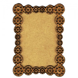 Plain ATC Wood Blank with Cog Borders Frame