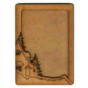Rounded Rectangle ATC Wood Blank with Winter Cottage Frame