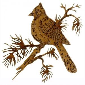 Cardinal on Snowy Fir Bough - MDF Bird Wood Shape