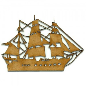 Galleon Boat MDF Wood Shape - Style 4