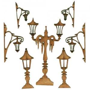 Sheet of Mini MDF Street Lamps