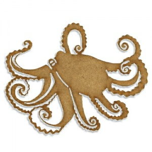 Octopus with Curled Tentacles - MDF Wood Shape