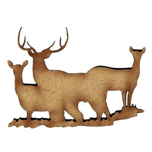 Group of Deer MDF Wood Shape Style 15