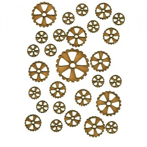 Sheet of Mini MDF Wood Cogs - Style 7