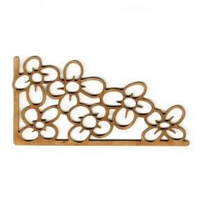 Flower Outline MDF Wood Corner Embellishment - Style 21
