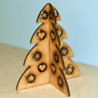 3D Christmas Tree MDF Wood Kit - Style 3