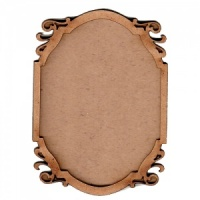 Shaped ATC Wood Blank with Flourish Cut Out Frame