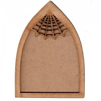 Gothic Arch ATC Wood Blank with Spider Web Frame