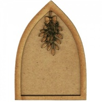 Gothic Arch ATC Wood Blank with Mistletoe Frame