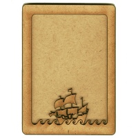 Plain ATC Wood Blank with Boat on Waves Frame
