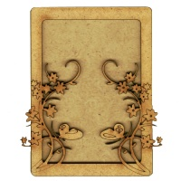 Plain ATC Wood Blank with Climbing Vines & Butterflies Frame