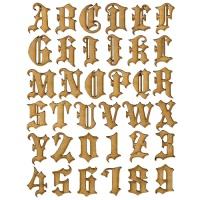 MDF Letters & Numbers - Blackletter Shadow Font