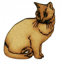 Long Haired Cat with Curled Tail - MDF Wood Shape