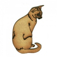 Sitting Cat with Curled Tail - MDF Wood Shape