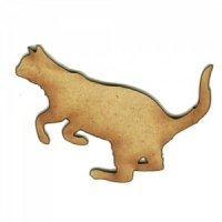Pouncing Cat Silhouette - MDF Wood Shape