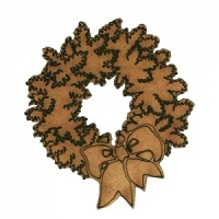 Christmas Fir Wreath with Bow - MDF Wood Shape