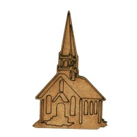 Village Church in Winter MDF Wood Shape
