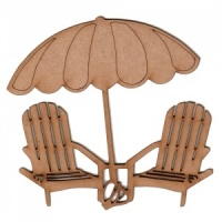 Beach Chairs and Umbrella MDF Wood Shape