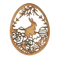 Easter Egg MDF Wood Shape with Rabbit & Roses