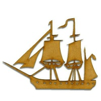 Galleon Boat MDF Wood Shape - Style 2