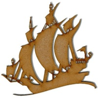 Galleon Boat MDF Wood Shape - Style 3