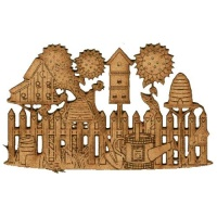 Summer Garden & Birdhouse Scene - MDF Wood Shape