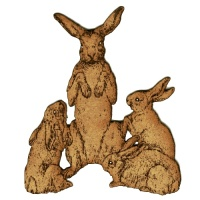 Hare Family MDF Wood Shape Style 7