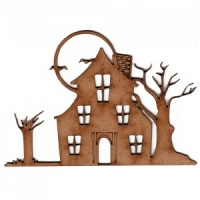 Haunted House with Moon - MDF Wood Scene