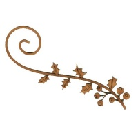 Holly Leaf & Berry Flourish - MDF Lace Cut Wood Shape