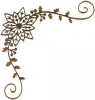 Poinsettia, Holly & Berry Corner - MDF Lace Cut Wood Shape