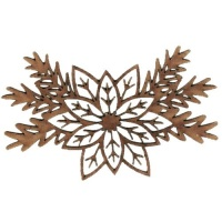 Poinsettia Flower & Fir Sprigs - MDF Lace Cut Wood Shape