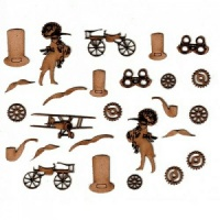 Sheet of Mini MDF Steampunk Motifs Style 2