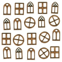 Sheet of Mini MDF Window Wood Shapes