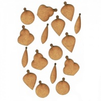 Sheet of Mini MDF Christmas Wood Shapes - Plain Baubles
