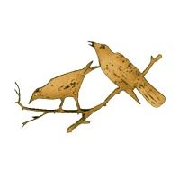 Pair of Ravens on Branch MDF Wood Shape