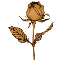 Rosebud Flower Stem MDF Wood Shape