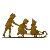 Children on Sled Silhouette - MDF Wood Shape