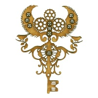 Steampunk Mechanical Key & Cogs Motif Style 4