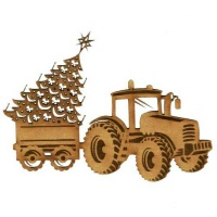 Tractor Trailer & Christmas Tree - MDF Wood Shape