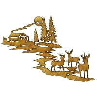 Winter Deer Scene Style 1 - MDF Wood Shape