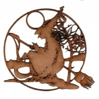 Witch, Moon & Broomstick Motif MDF Wood Shape