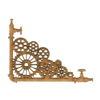 Steampunk Pipes & Cogs - MDF Wood Corner