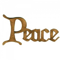 Peace - Wood Word in Christmas Card Font