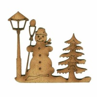 Snowman & Lamp Post Scene - MDF Wood Shape