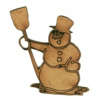 Snowman with Broom - MDF Wood Shape