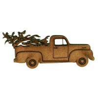 Vintage Truck with Fir Tree - MDF Wood Shape